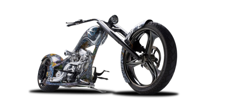 Transparent motorcycle chopper. About thunder cycle designs