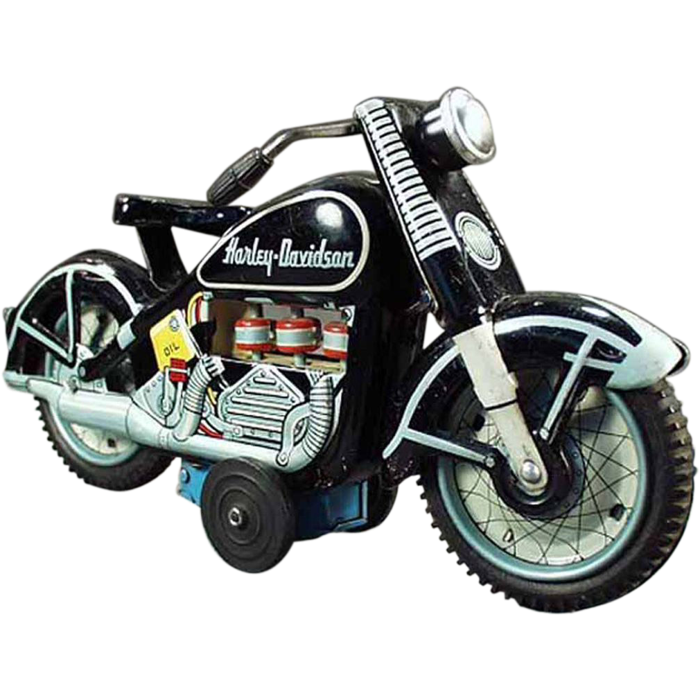 Transparent motorcycle old. Japanese tin harley davidson