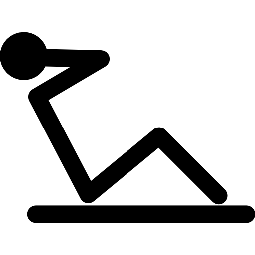 Transparent muscles icon. Gymnast making abdominals to