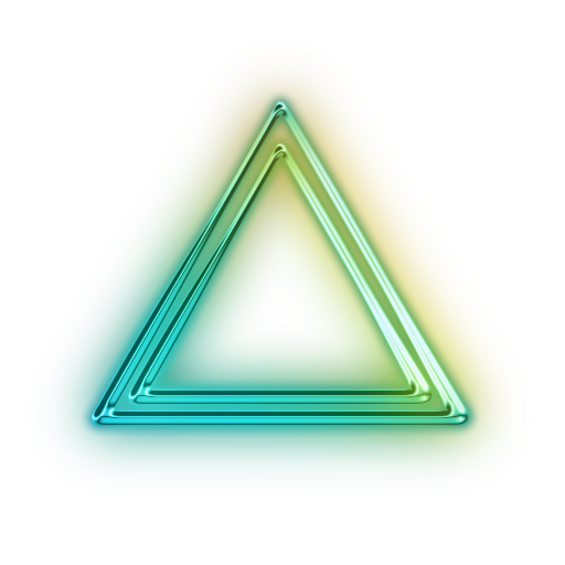 Transparent neon glowing triangle. M editing angular png