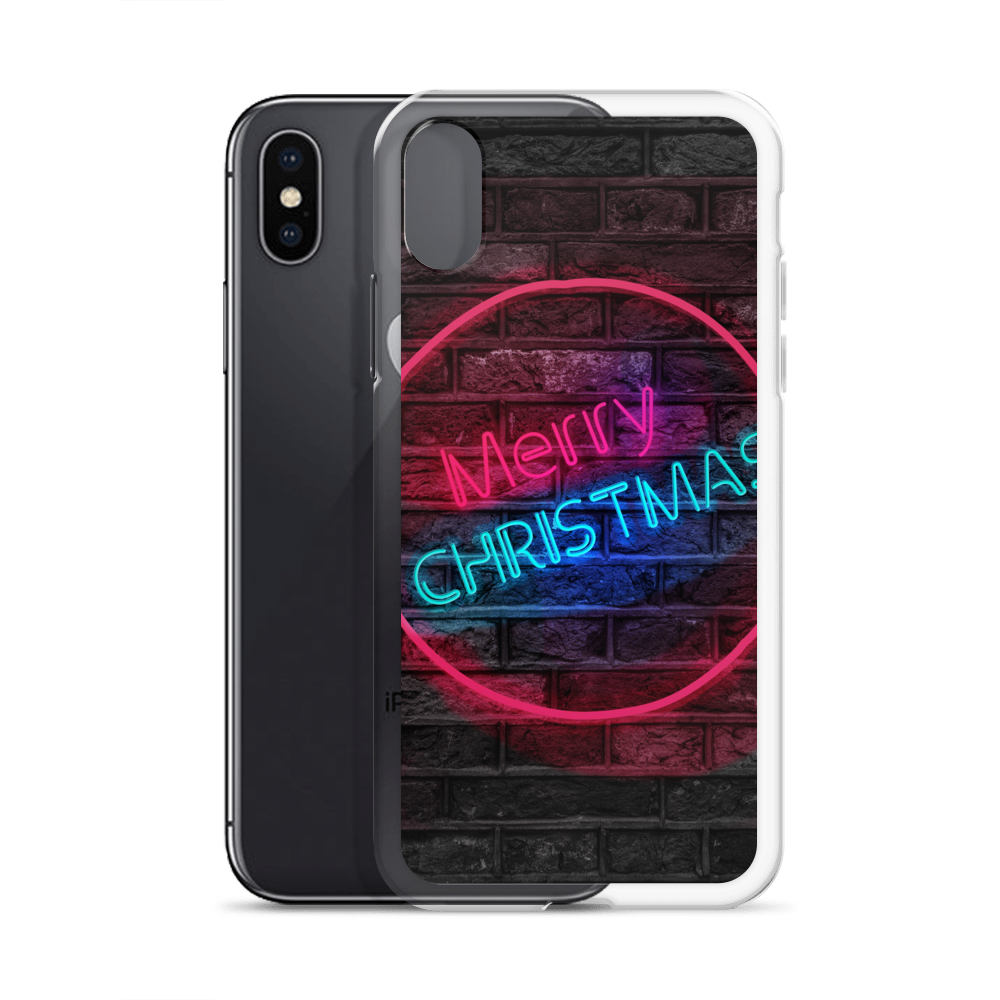 Transparent neon merry christmas. Iphone case greatness reinvented