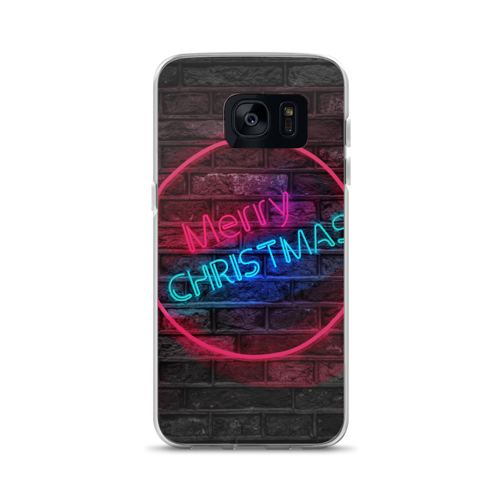 Transparent neon merry christmas. Samsung case greatness reinvented