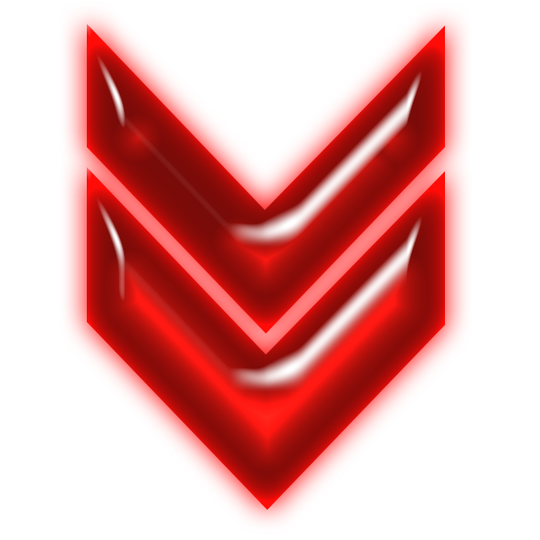 Transparent neon red. File double arrow down