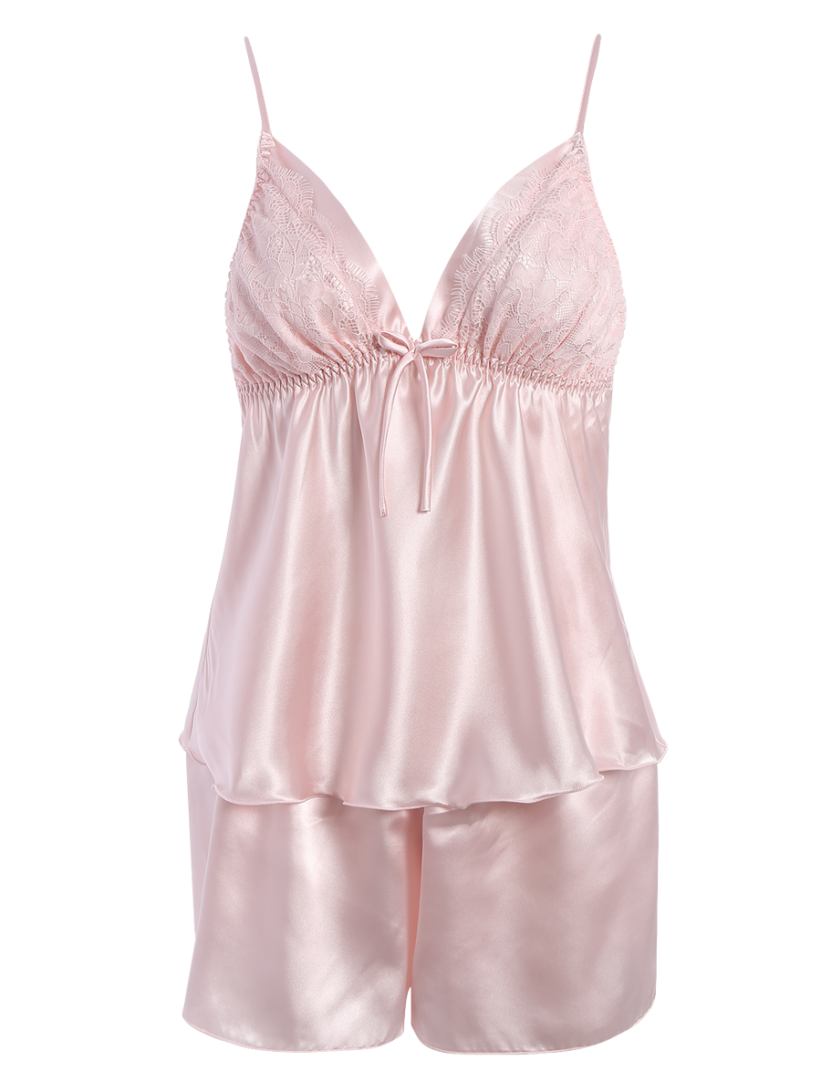 Transparent nightwear. Cami lace panel bowknot
