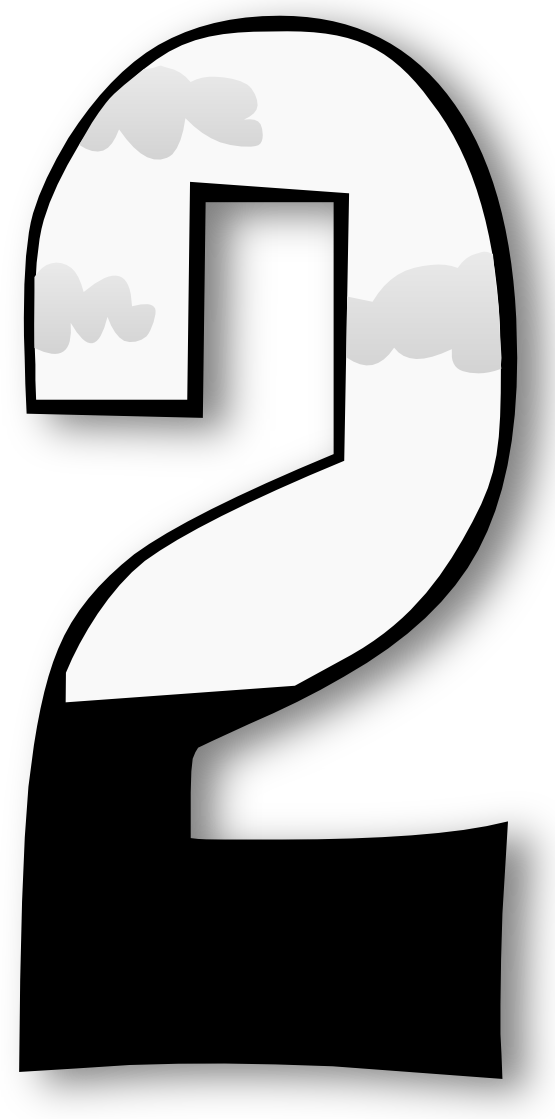 Transparent one black and white. Number png numbers clipart