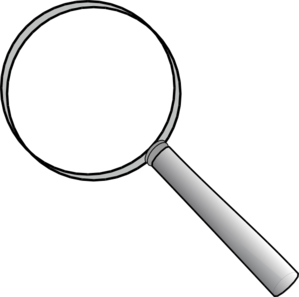 Transparent one magnifier. White magnifying glass clipart