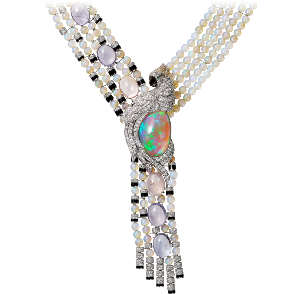Transparent opal gray. High jewelry necklaceplatinum opals
