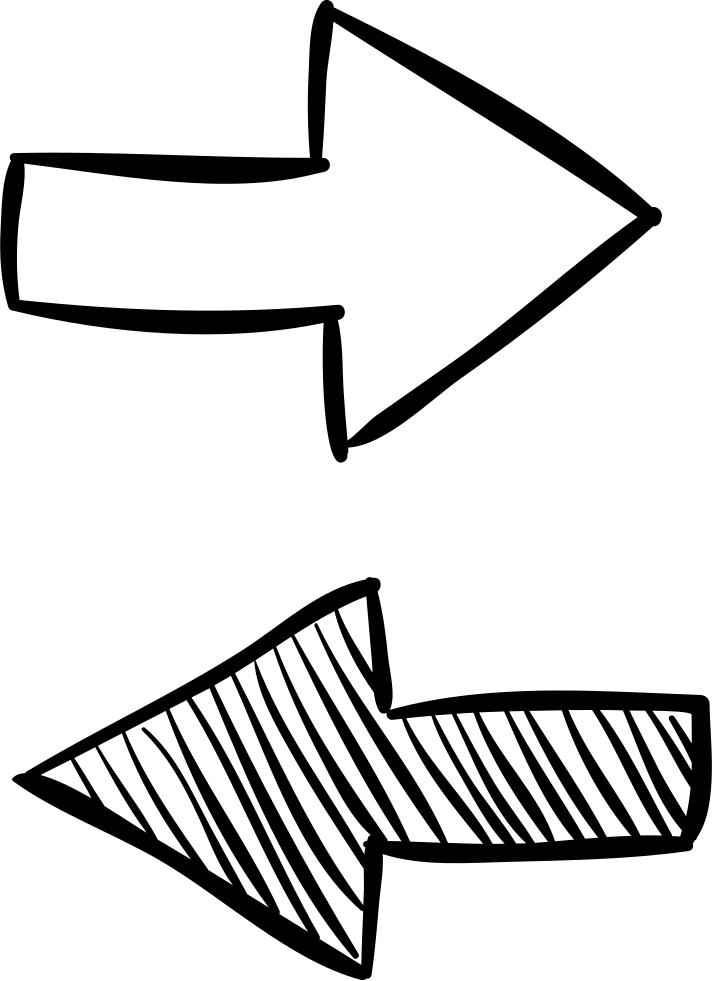 Transparent opposite arrows. Two sketch svg png