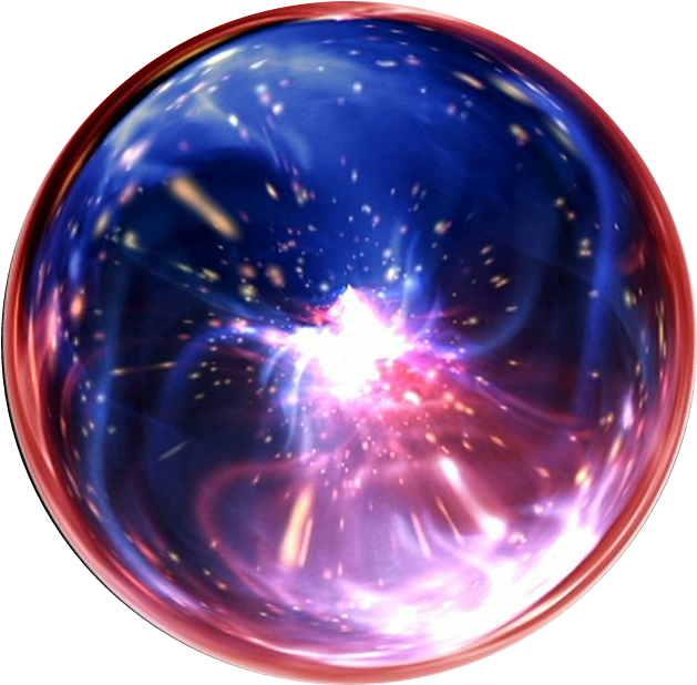 Transparent orb bubble. Circle magic sphere red