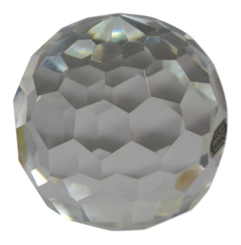 Transparent orb crystal. Large faceted hand cut