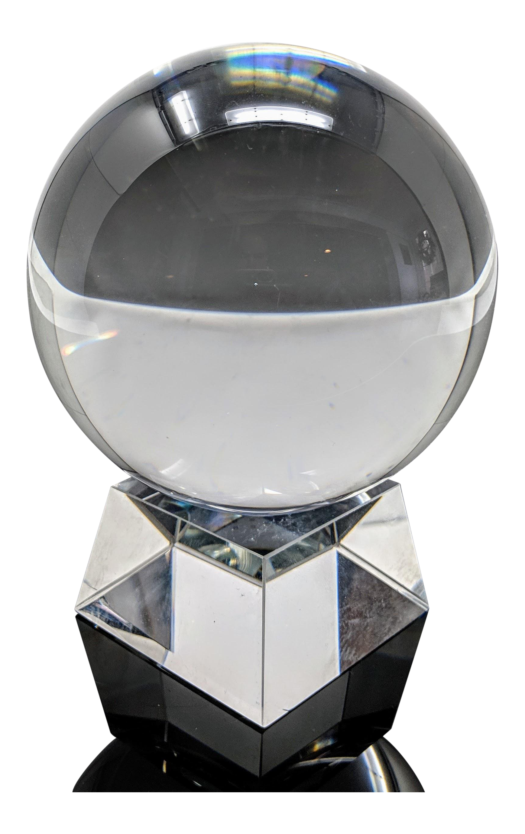 Transparent orb crystal. Heavyweight sphere ball chairish