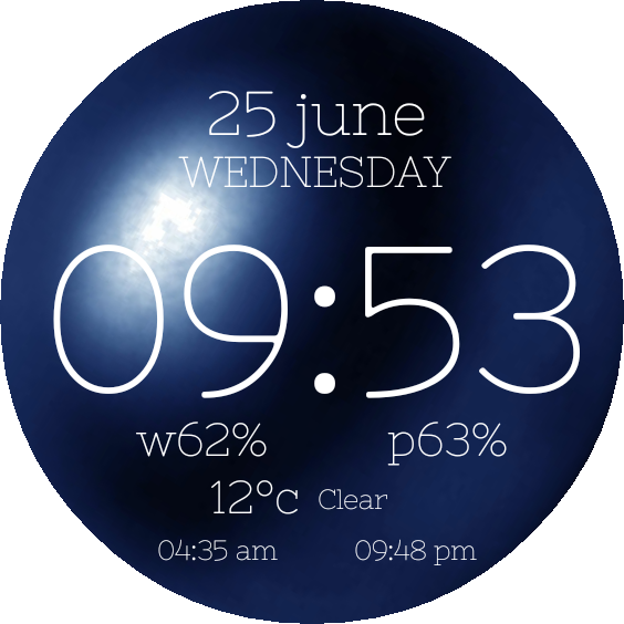 Transparent orb neon blue. Simple for watch urbane
