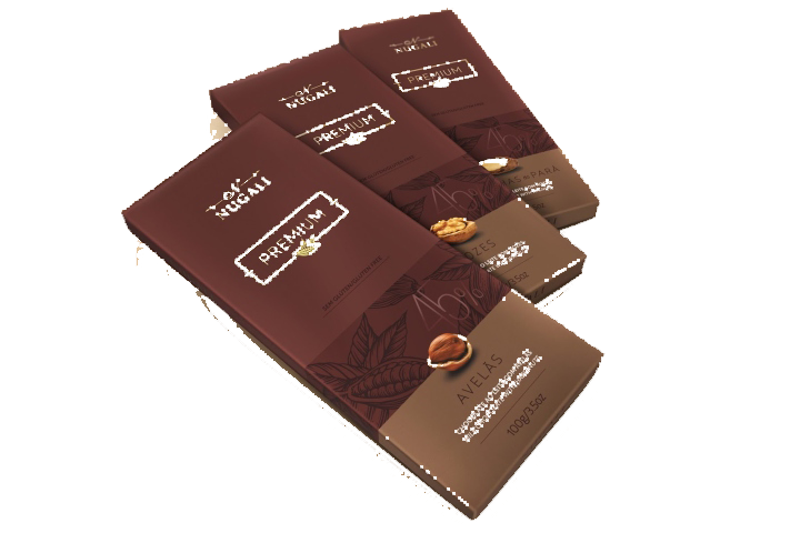 Transparent packaging chocolate. Truffle bar praline and