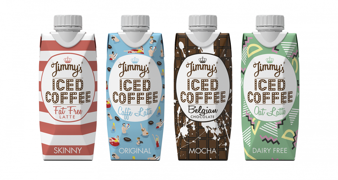 Transparent packaging coffee. Jimmy s iced redesign