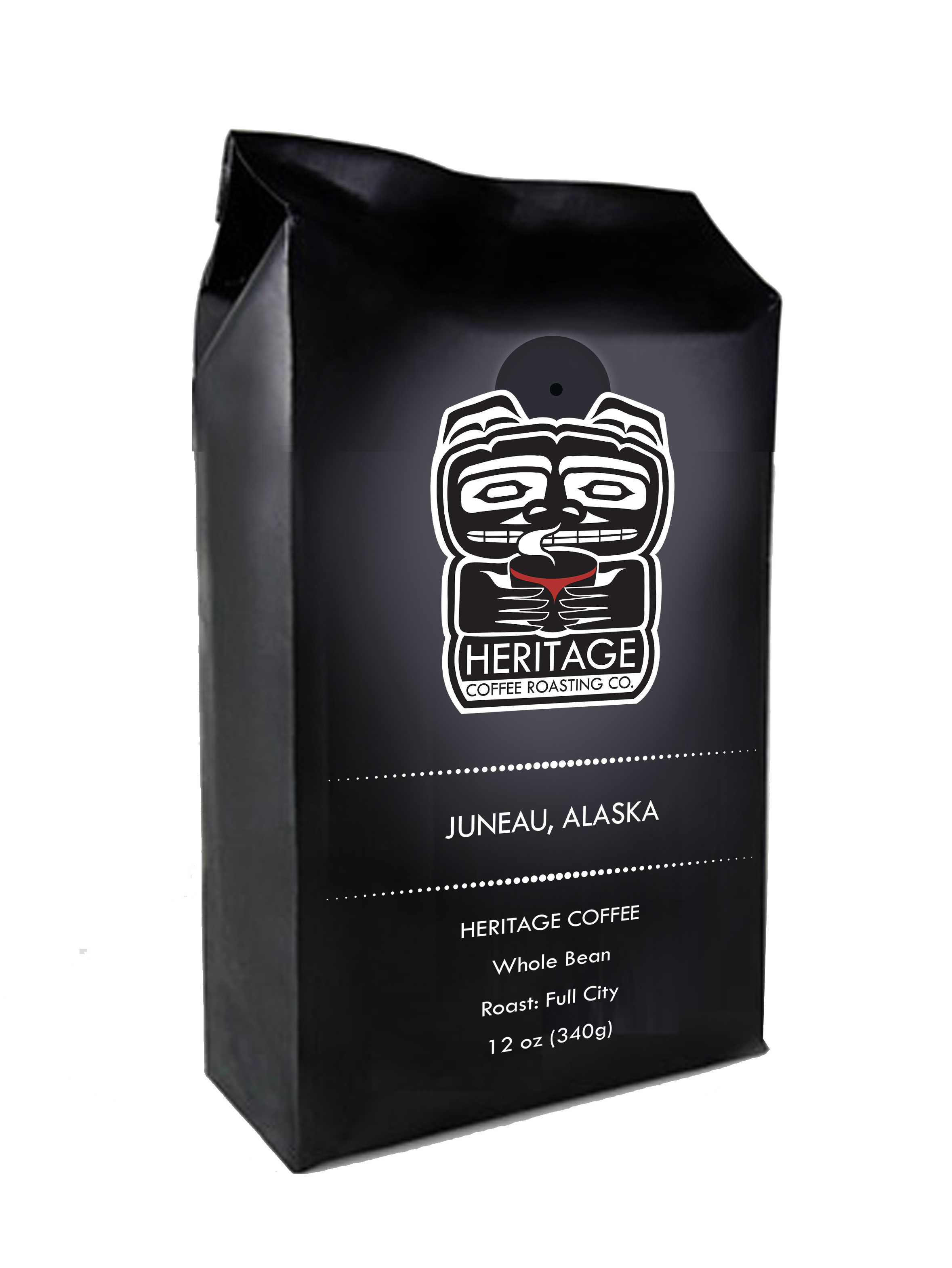 Transparent packaging coffee. Toasted coconut heritage