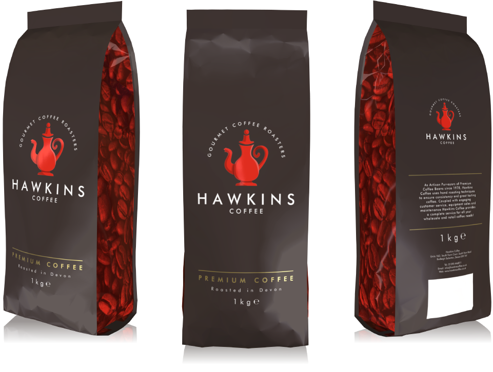 Transparent packaging coffee. Hawkins ad profile design