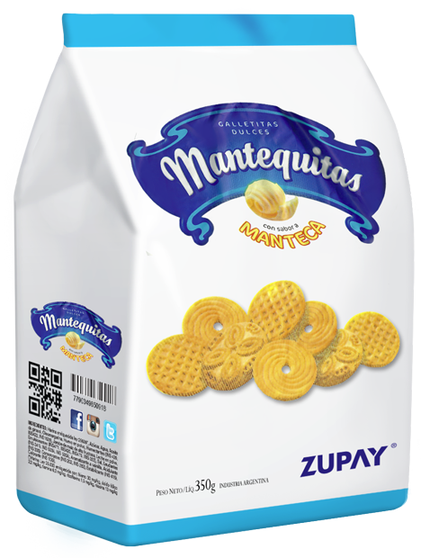 Transparent packaging cookie. Zupay mantequitas cookies snacks
