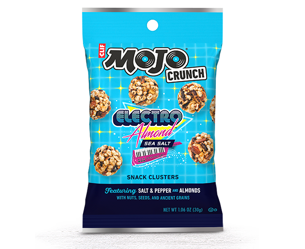 Transparent packaging crunch. Clif mojo electro almond