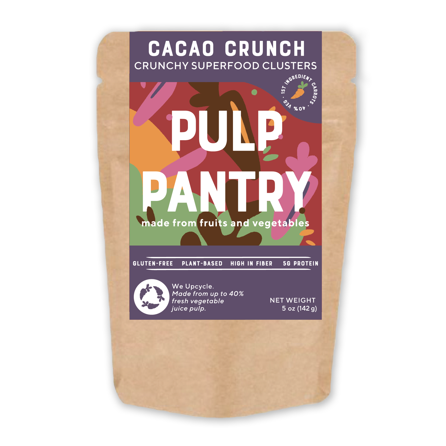 Transparent packaging crunch. Cacao plant based granola