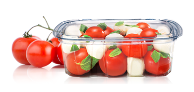 Transparent packaging food. Pete rollstock for thermoformed