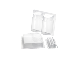 Transparent packaging rectangle. Clamshell thermoformed blisters trays