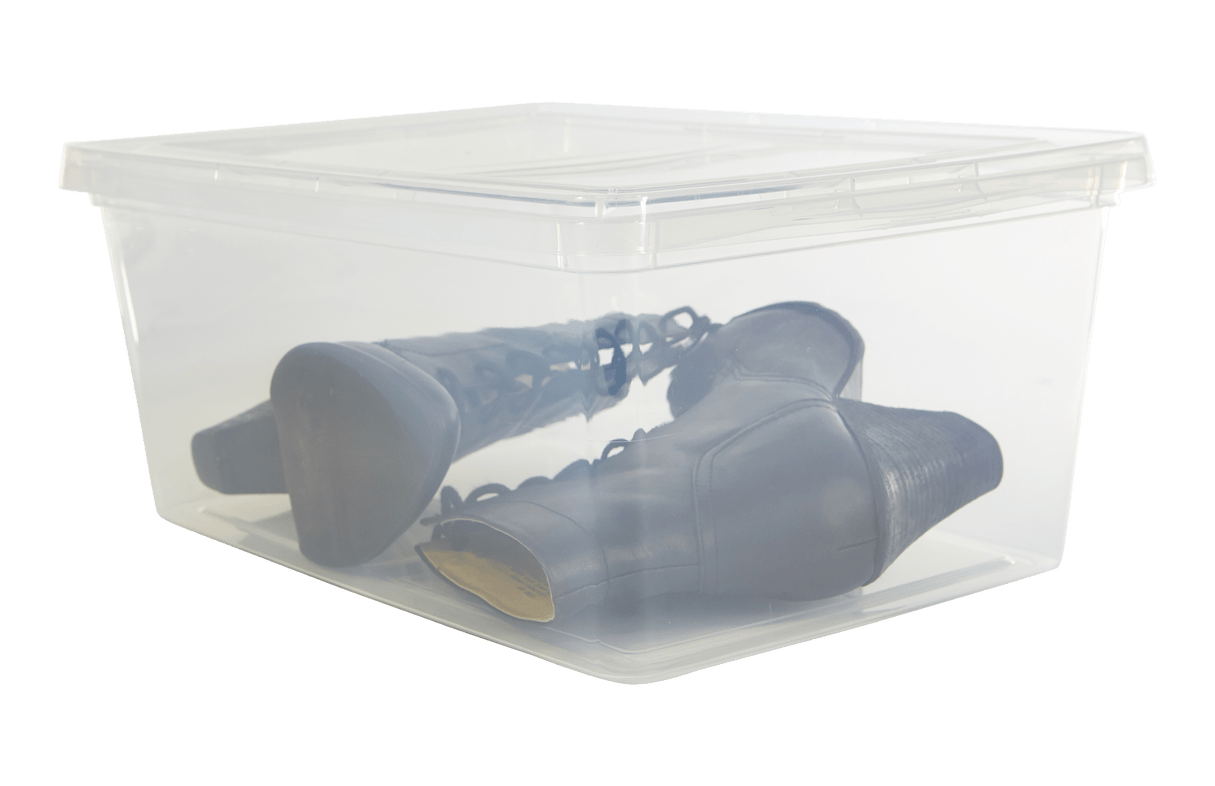 Transparent packaging semi. Plastic bin organization storage