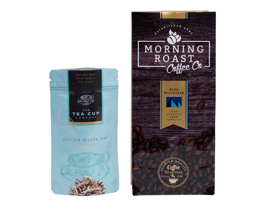 Transparent packaging coffee. Tea custom pouch designs