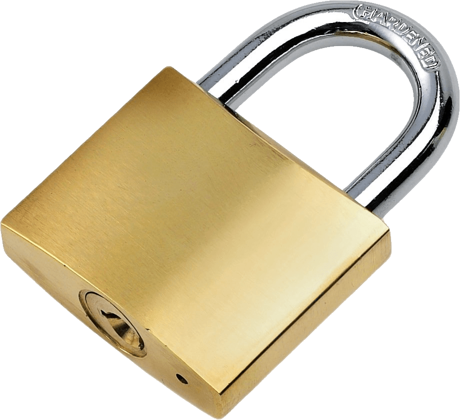 Transparent padlock gold. Large png stickpng objects