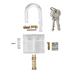 Transparent padlock practice. Lockpick kit cool stuff