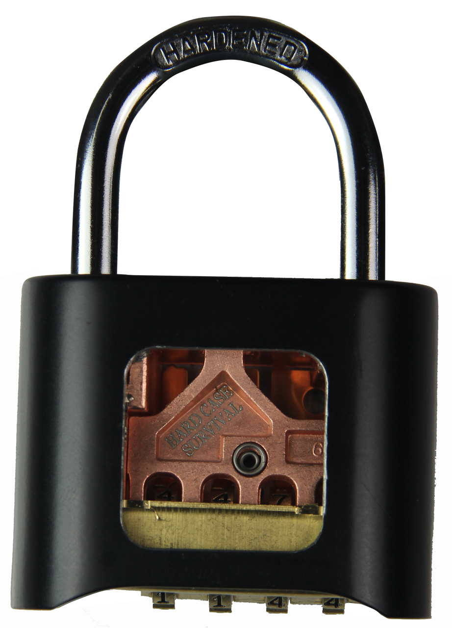 Transparent padlock practice. Cutaway lock hard case