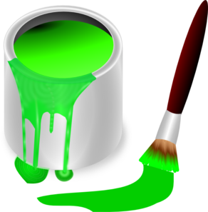 Transparent paintbrush clipart paint. Green brush and can