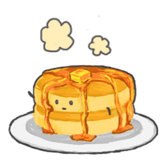 Transparent pancakes kawaii. Cute line stickers store