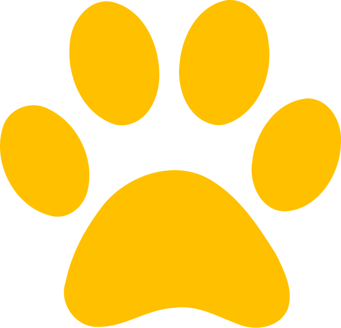 Transparent paw yellow. Paws program paroling animals
