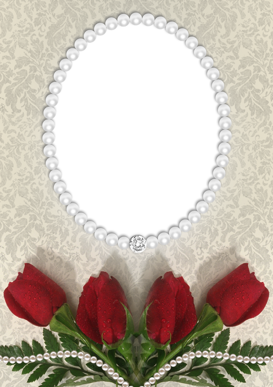 Transparent pearls. Roses and png frame