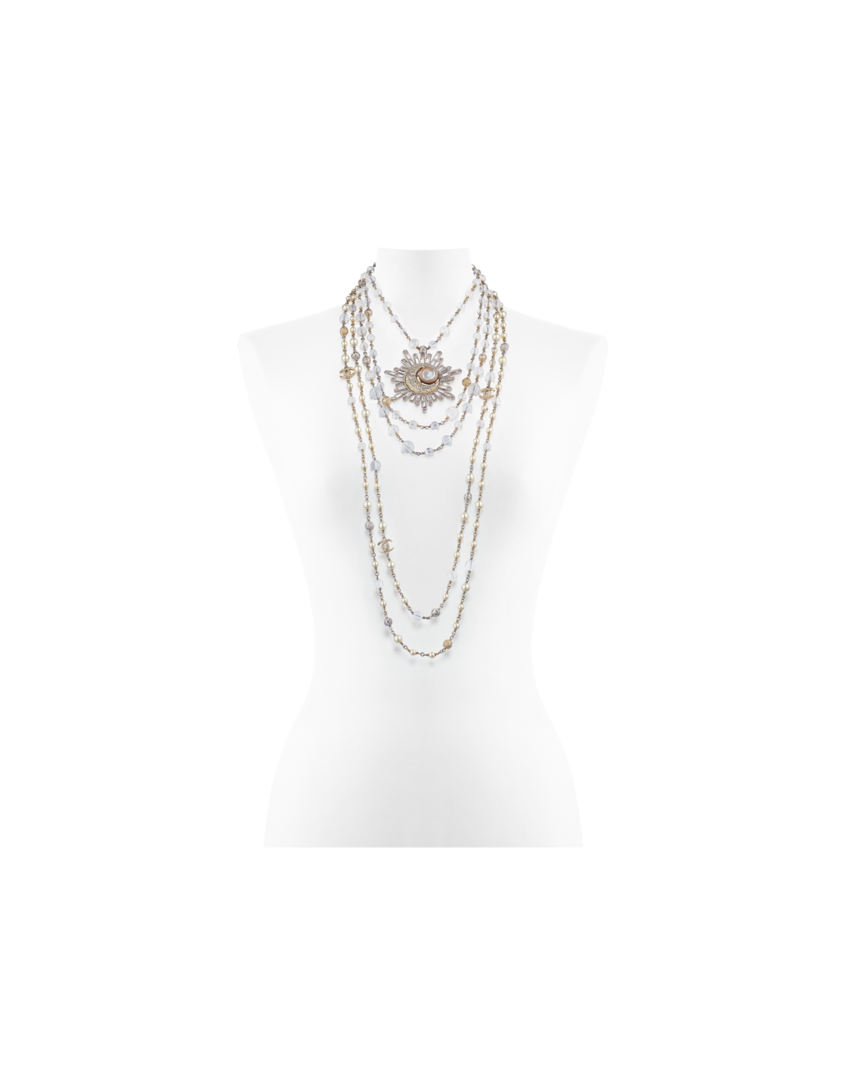 Necklace metal strass glass. Transparent pearls graphic transparent library