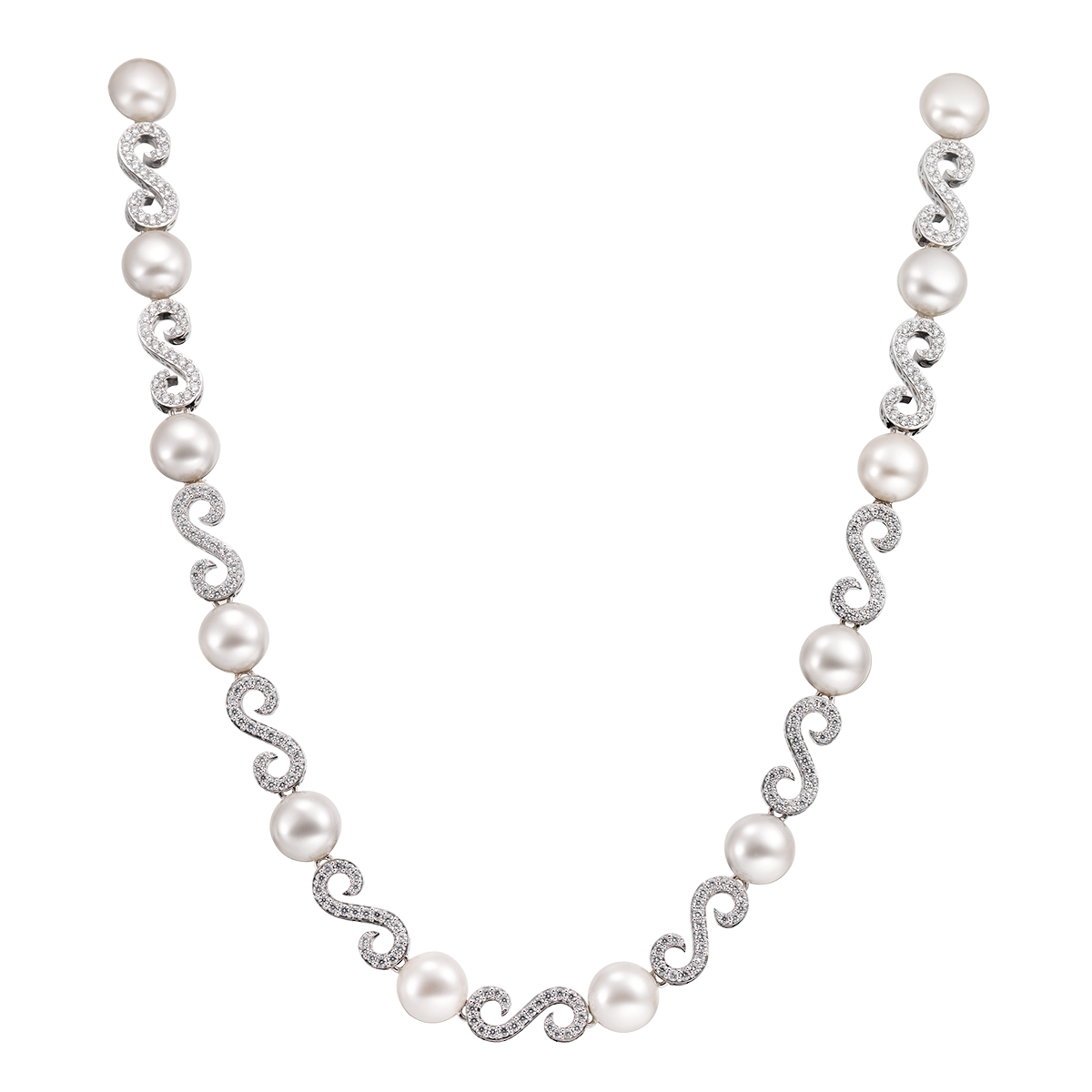 Transparent pearls full body. Arabesque pearl necklace ciro