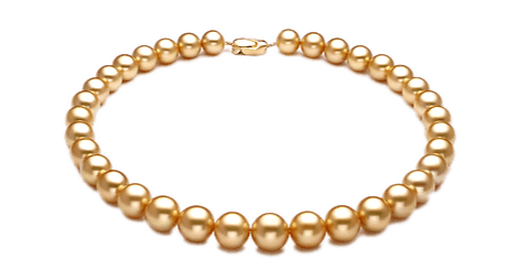 Transparent pearls gold. Golden south sea pearl