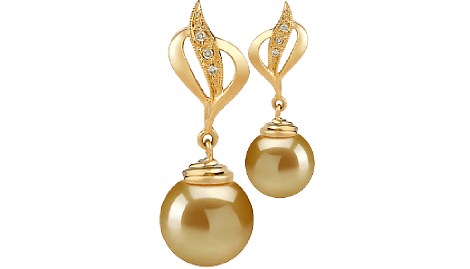 Transparent pearls golden. South sea pearl earrings