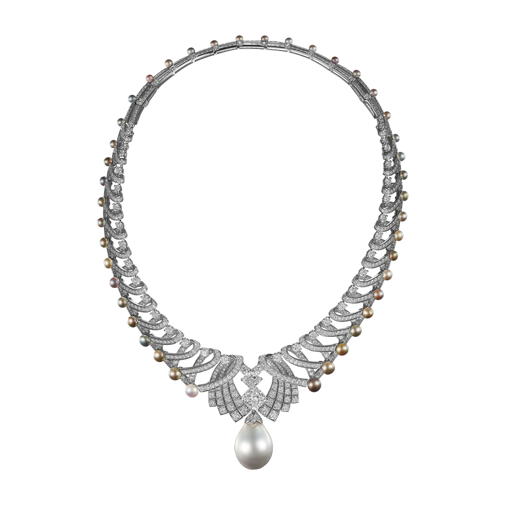 Transparent pearls one. High jewelry necklace royal