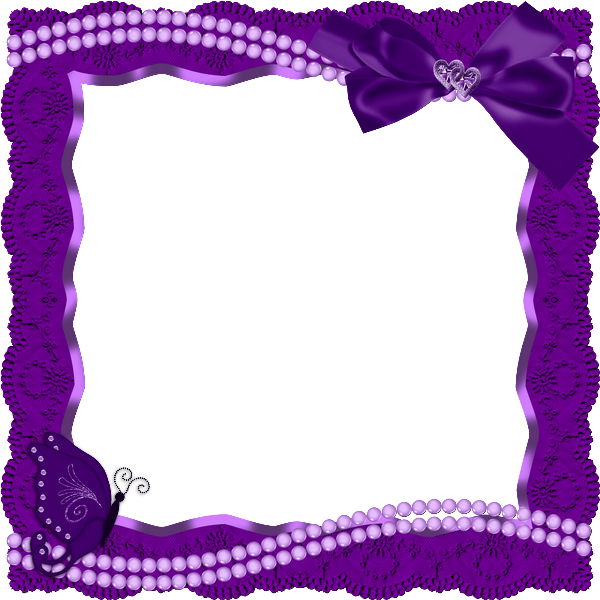 Transparent pearls purple. Frame with butterfly ribbon
