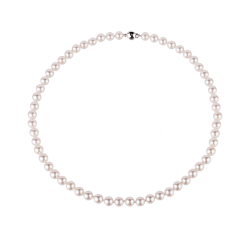 Transparent pearls strand. Ct white gold