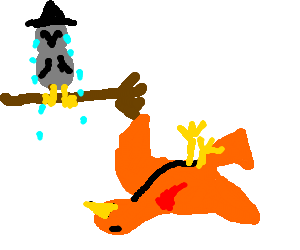 Transparent phoenix dying. Owl witch is upset