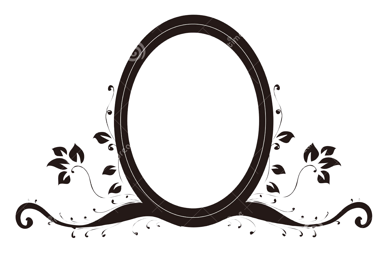 Transparent photography mirror. Drawing oval stock decorative