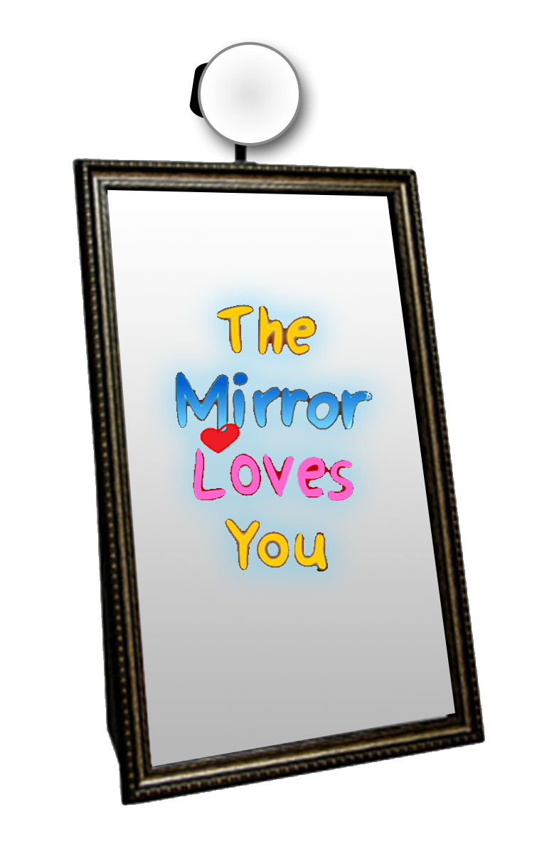 Transparent photography mirror. Magic photo booth party