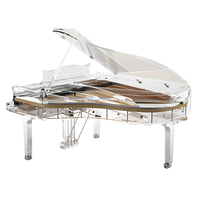 Transparent pianos acrylic. Bluthner idyllic excellence fully
