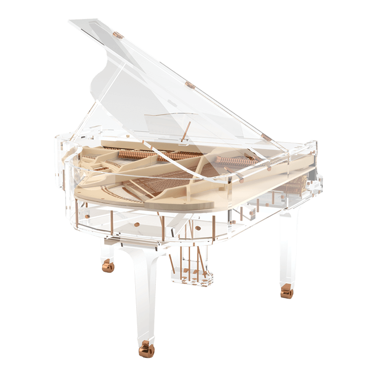 Transparent pianos glass. Bluthner idyllic excellence fully