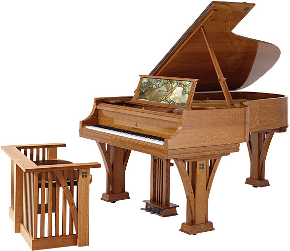 Transparent pianos mansion. Arts and crafts movement