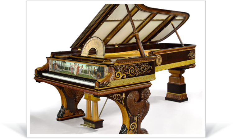 Transparent pianos steampunk. Most expensive in the