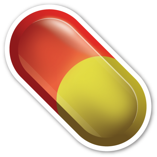 Transparent pills pile. Clip art black