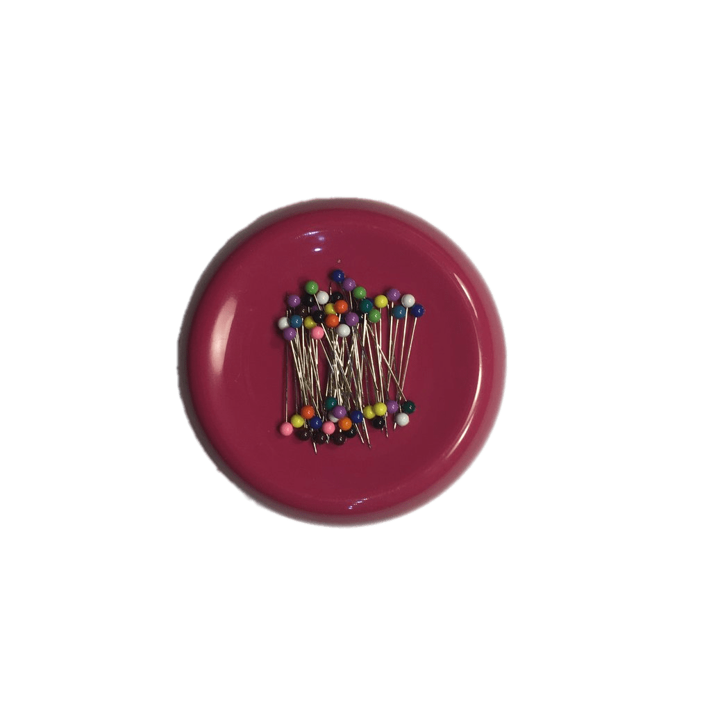 Transparent pin lollipop. Red magnetic cushion png